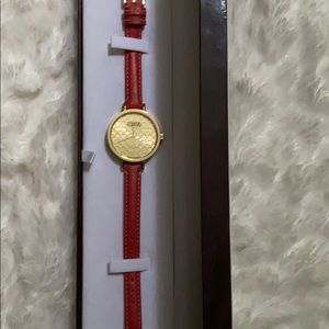 Coach slim leather band watch. Logo C on face